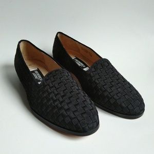 FREDERICO LEONE Leather Dress Shoes Black Woven